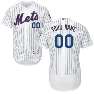 Men New York Mets White FlexBase Custom Jersey